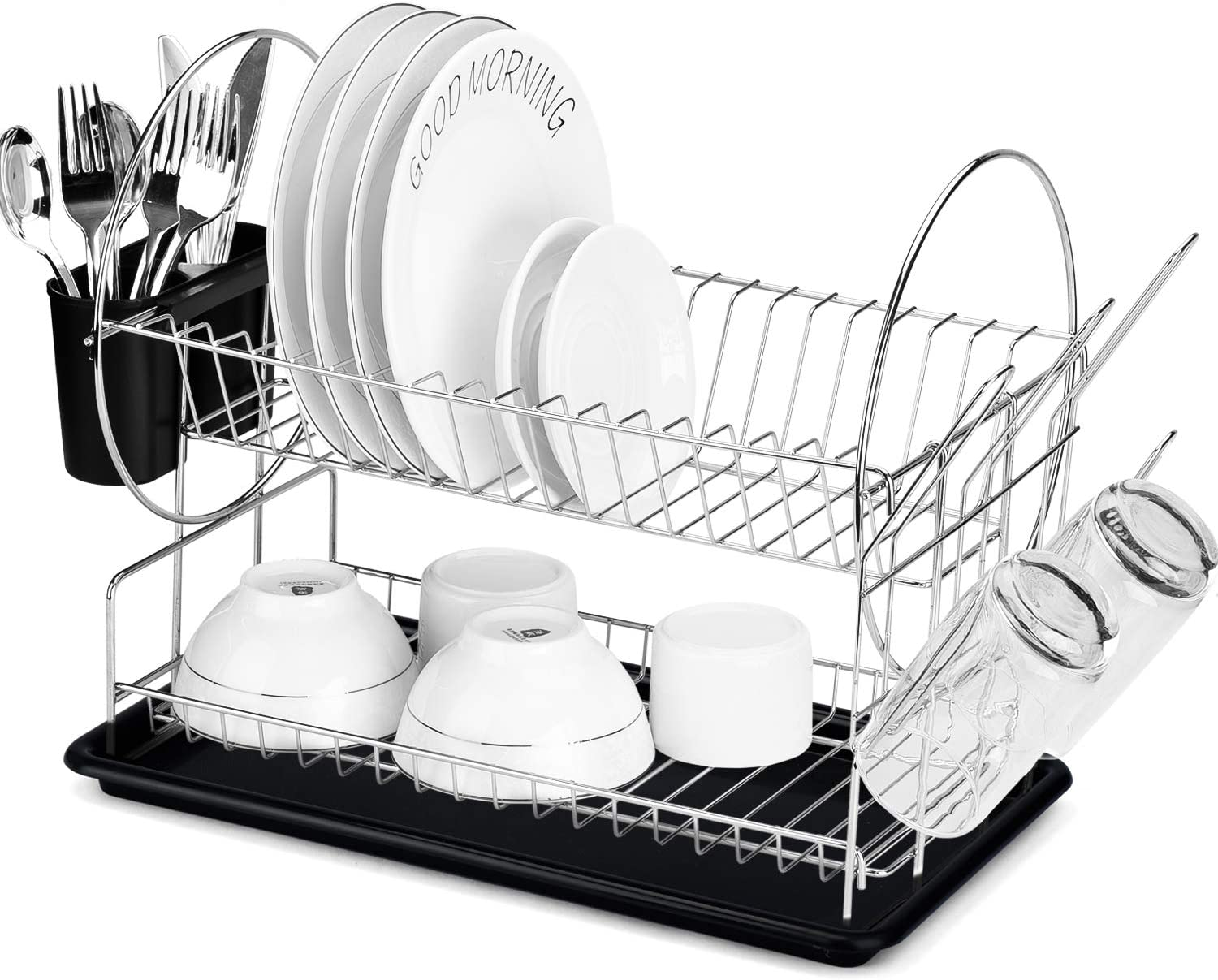Syntrific Dish Drying Rack, 2 Tier Dish Rack with Utensil Holder, Cup Holder and Dish Drainer for Kitchen Counter Top, Plated Chrome Dish Dryer Silver 15 x 13 x 8 inch Black