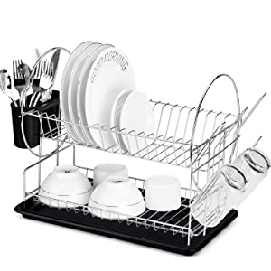 Glotoch Dish Drying Rack, 2 Tier Dish Rack with Utensil Holder, Cup Holder and Dish Drainer for Kitchen Counter Top, Plated Chrome Dish Dryer Silver 15 x 13 x 8 inch Black
