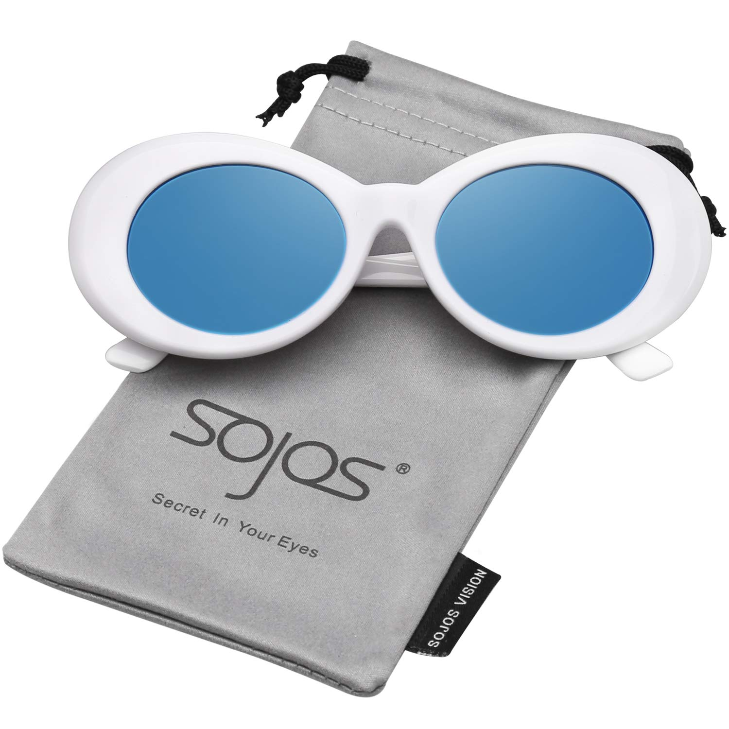 92736d3833 SOJOS Clout Goggles Oval Mod Retro Vintage Kurt Cobain Inspired Sunglasses  Round Lens SJ2039 with White Frame Blue Mirrored Lens