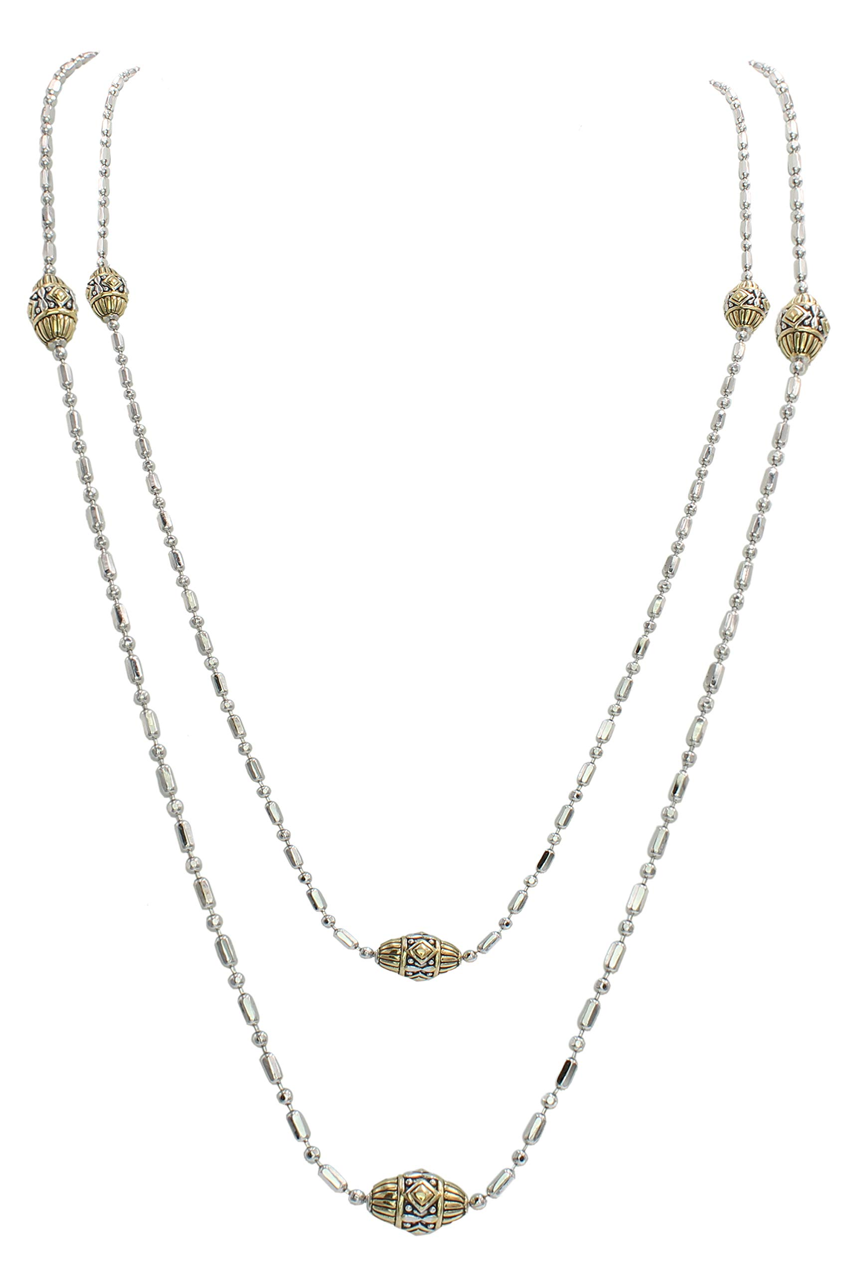 John Medeiros Gold and Silver Tone Long Strand 38'' Necklace with Handcrafted Charms Made in America by John Medeiros (Image #1)