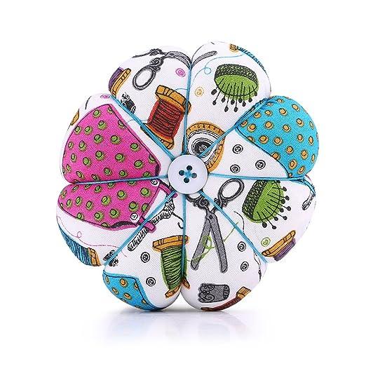 Alfombrilla de coser Costura floral Diseño de calabaza Kit de costura Alfileres de almacenamiento para la bandeja extraíble Alfiletero incorporado ...