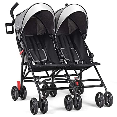 BABY JOY Double Light-Weight Stroller, Travel Foldable Design, Twin Umbrella Stroller with 5-Point Harness, Cup Holder, Sun Canopy for Baby, Toddlers Gray