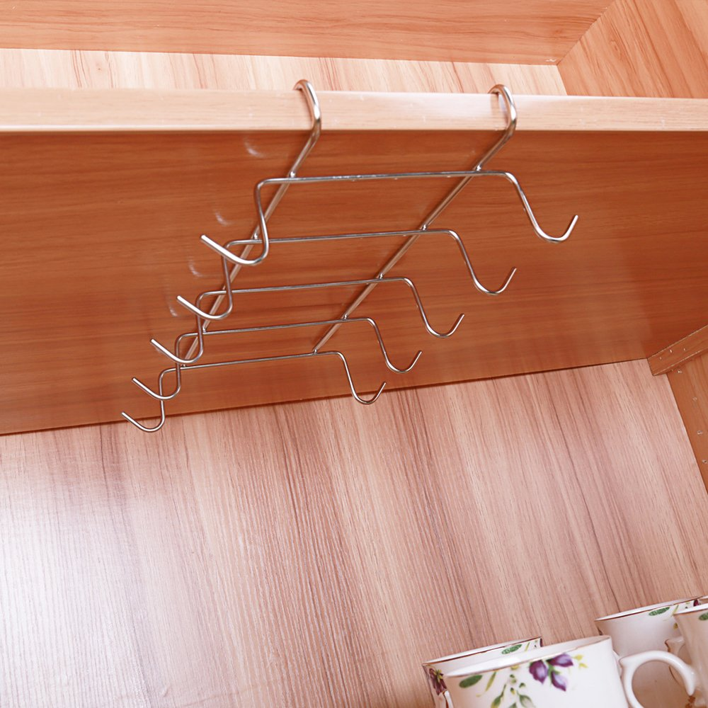 Mug Holder Under Shelf Cup Holder Hanger Coffee Kitchen Storage Rack 10 Hooks fannybuy