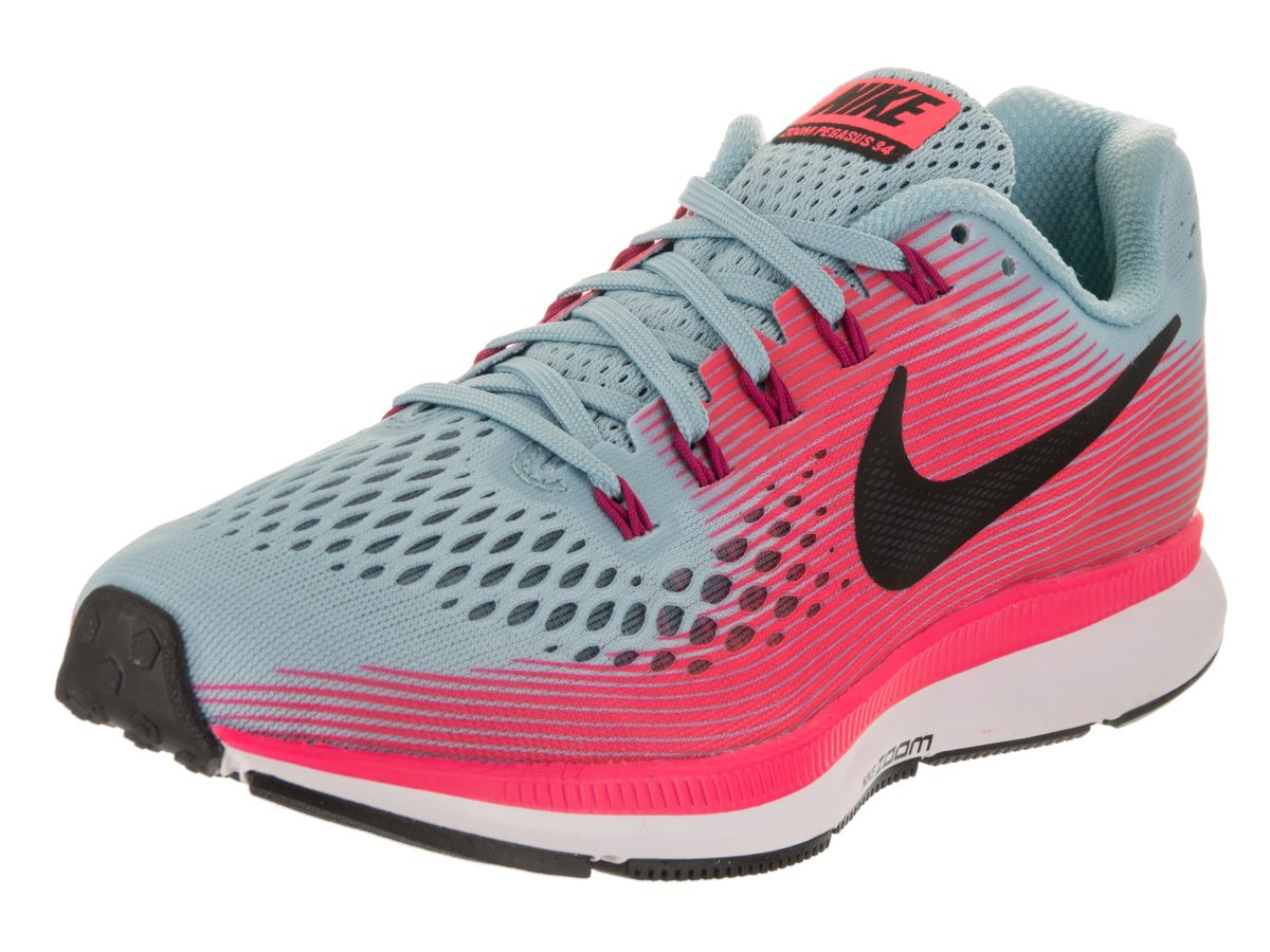 NIKE Women's Air Zoom Pegasus 34 Running Shoe Wide Mica Blue/White/Racer Pink/Sport Fuchsia Size 10 Wide US