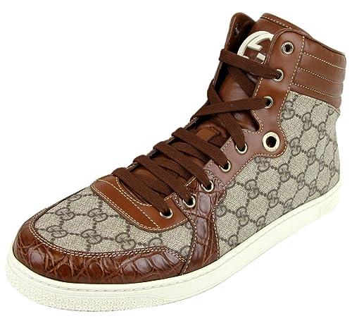 665b4b5bea4 Gucci Men s Crocodile Trim High Top Fashion Sneakers 224778 9779 (14.5 US    14 G