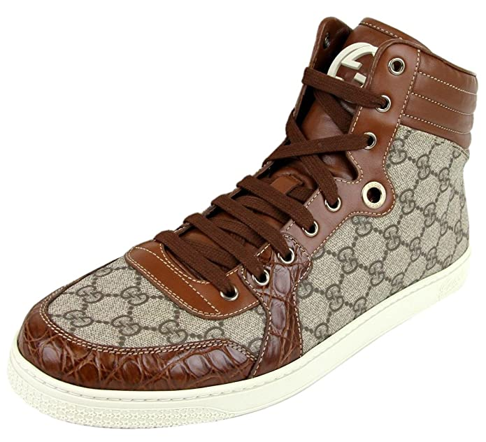 gucci shoes for men high tops. amazon.com: gucci men\u0027s crocodile trim high top fashion sneakers 224778 9779 (14 us / 13.5 g): shoes for men tops