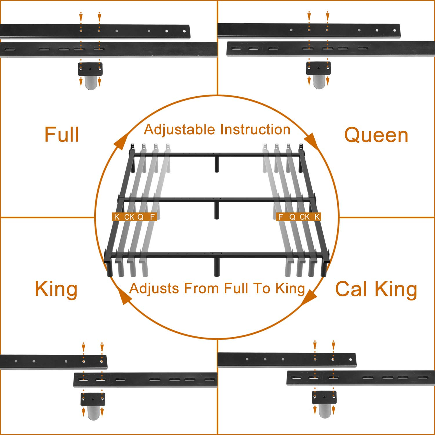 Twin//Twin XL ZIYOO 7 Inch Adjustable Metal Bed Frame Base for Box Spring