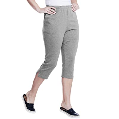 Roamans Women's Plus Size Soft Knit Capri Pant at Women's Clothing store