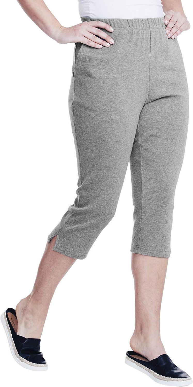 5X Black Roamans Women/'s Plus Size Soft Knit Capri Pant