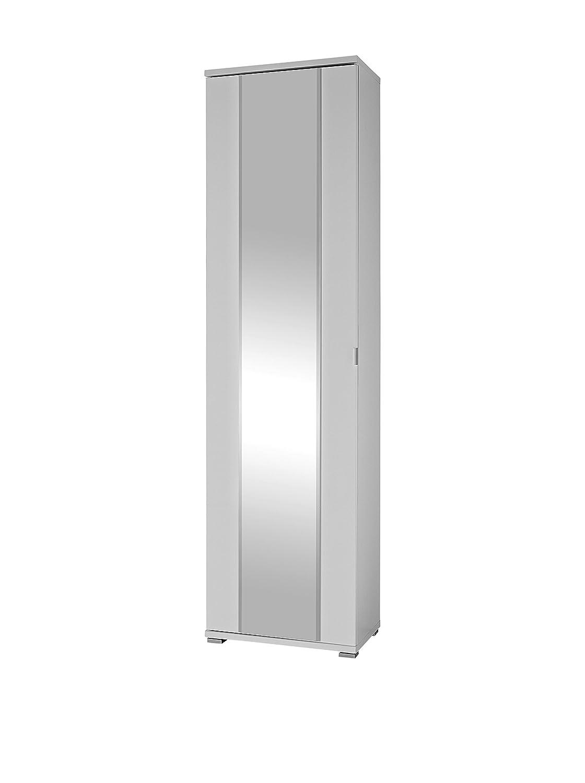 Germania 3453-84 Garderobenschrank mit Spiegel Farbeado in Weiß, 54 x 199 x 34 cm (BxHxT)