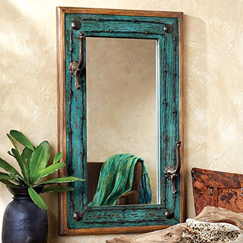 BLACK FOREST DECOR Turquoise Old Ranch Mirror with Hooks