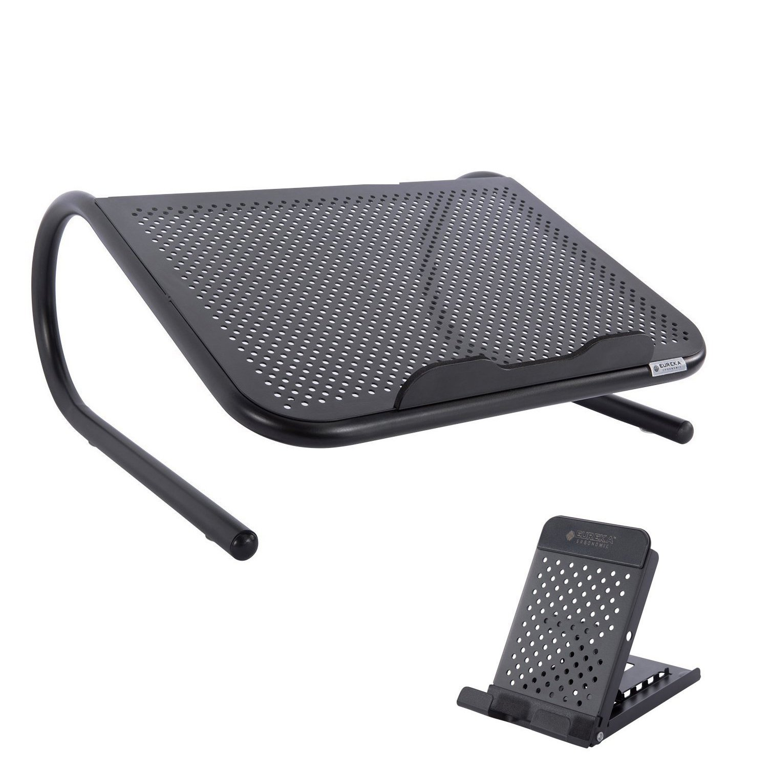 Eureka Ergonomic Ventilated Laptop Riser Stand with Free Adjustable Phone Stand, Metal, Black