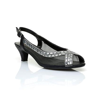 a7e54cc698da0 Sky Walker Women Ladies Wedding Bridal Shoes Prom Low Heel Diamante Party  Sandals (3 UK