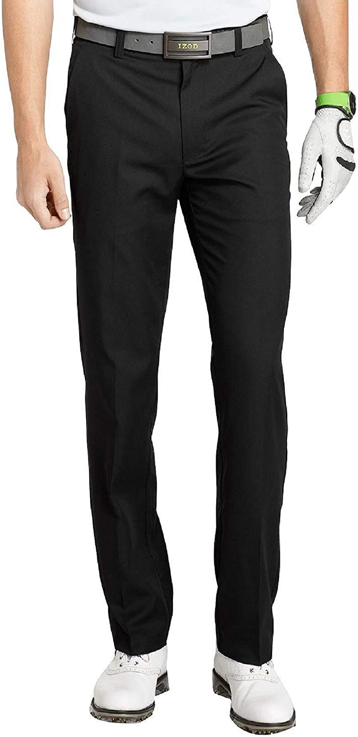 IZOD Men's Flat Front Traditional Slim Fit Basic Microtwill Golf Pant at  Men's Clothing store