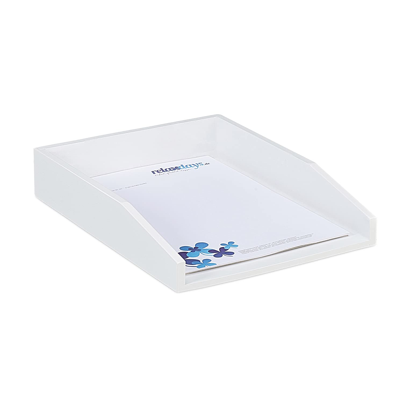 Relaxdays Dokumentenablage, stapelbar, Din A4 Papier, Büro, Schreibtisch, Briefablage aus Bambusholz, 6x25x33 cm, weiß Büro weiß 10023236