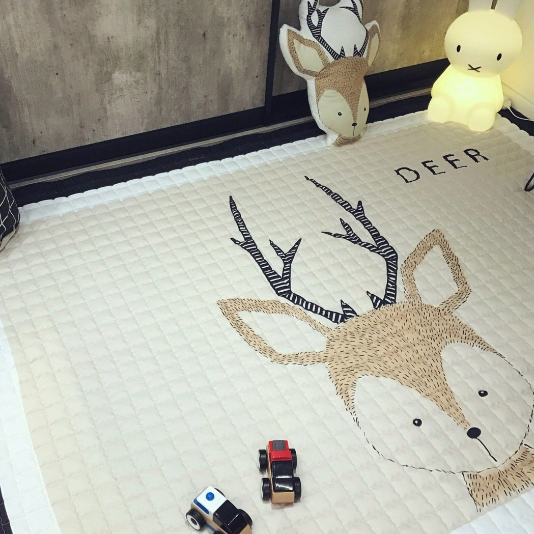 IHEARTYOU Baby Crawling Mat Cute Deer Play Carpet Children Bedroom Decor Living Room Rugs by IHEARTYOU (Image #5)