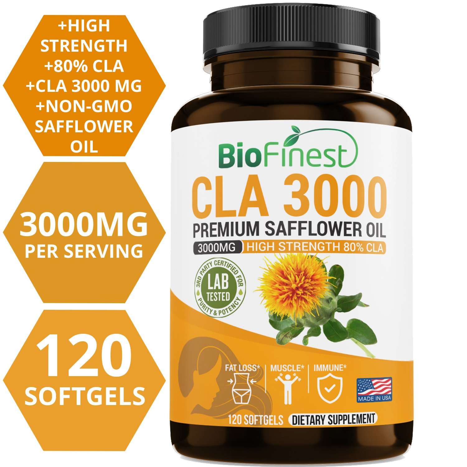 Biofinest CLA Safflower Oil 1500 / 3000mg Supplement - Conjugated Linoleic Acid - Non-GMO, Non-Stimulating, Gluten Free - Best for Men & Women (120 Softgels Capsules)