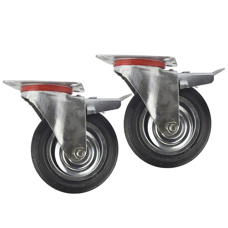 6' (150 mm) orientabile in gomma con freno Ruote trolley Caster (pacco da 2) CST011 AB Tools