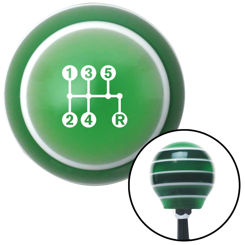 White 5 Speed Shift Pattern - Dots 15n Green Stripe with M16 x 1.5 Insert American Shifter 275528 Shift Knob