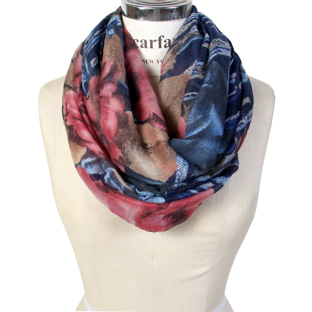 Scarfand's Romantic Rose Flower Print Lightweight Infinity Scarf & Head Wrap SC102BK