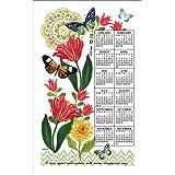 2017 Floral Fantasy Jennifer Brinley Linen Calendar Towel (F3340)
