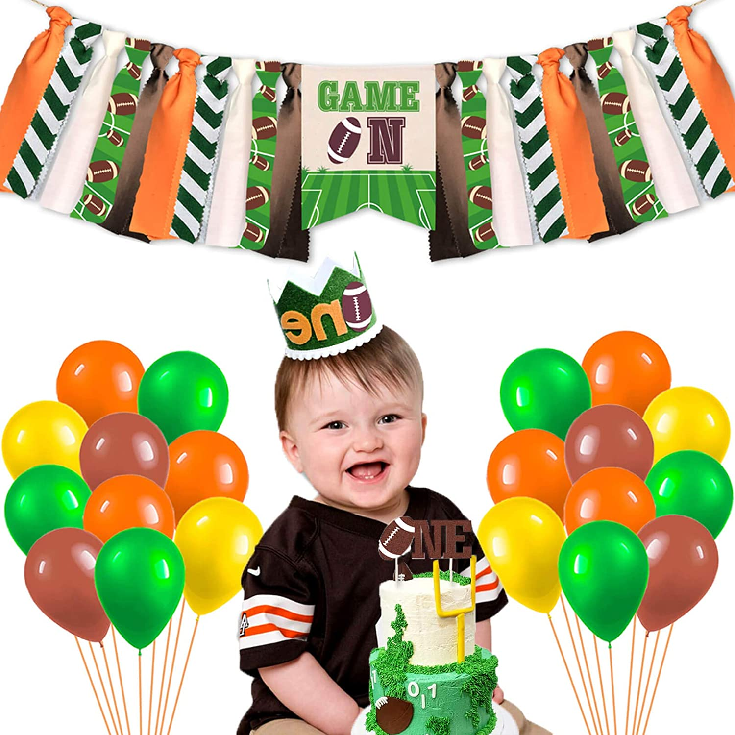 Football 1st Birthday Party Supplies Decorations, Sport Game Day Party High Chair Banner, Tailgate NFL One Cake Topper, Touchdown One Crown, Super Bowl Sunday Baby Boy 1st Photo Booth Props