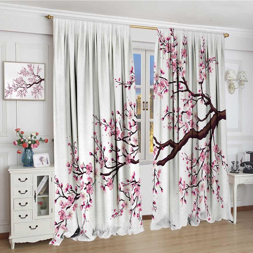 "smallbeefly Japanese Room Darkening Wide Curtains Branch of a Flourishing Sakura Tree Flowers Cherry Blossoms Spring Theme Art Decor Curtains By 72""x84"" Pink Dark Brown"