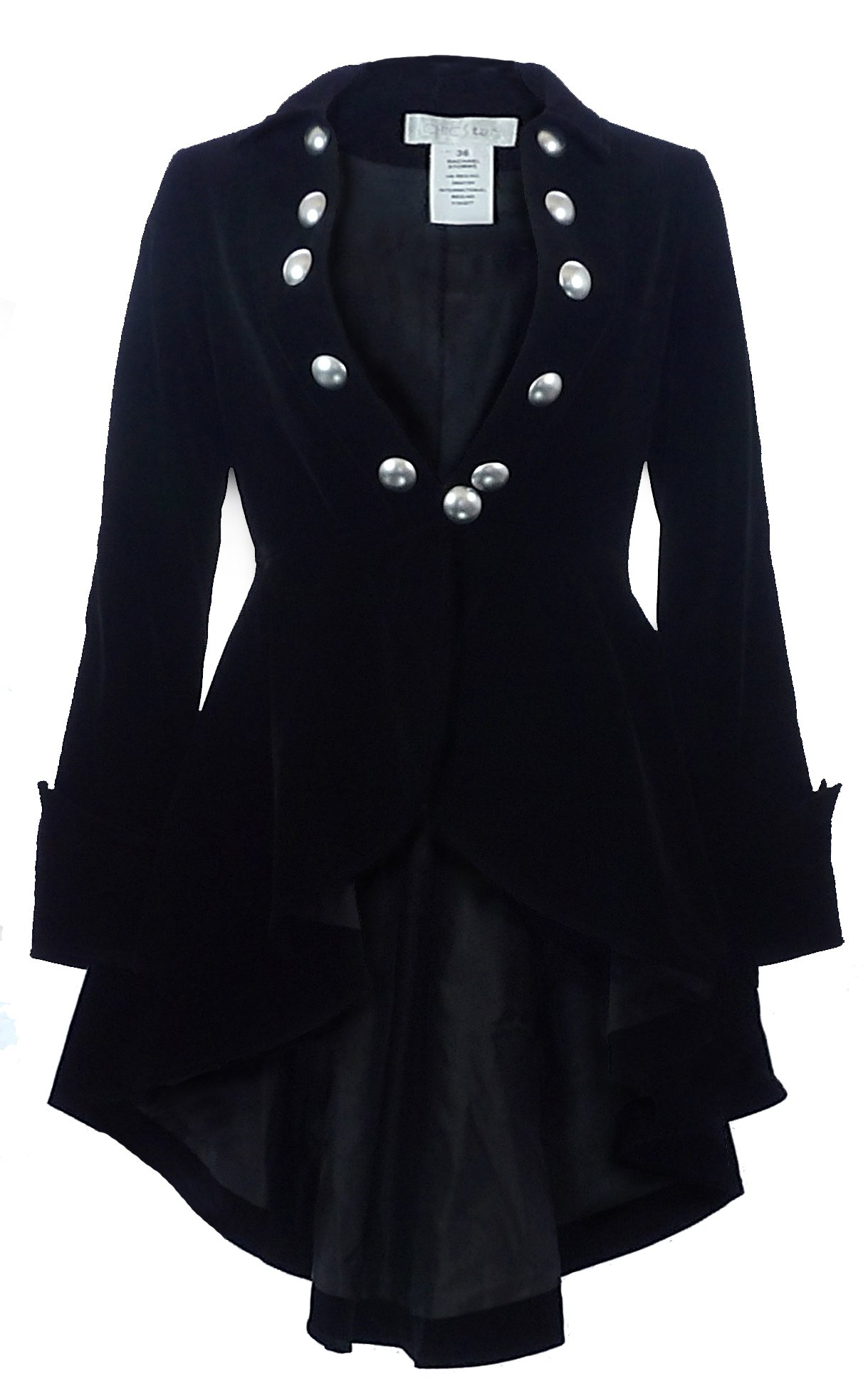 CSDttT (XS-28) Velvet Wine Waterfall - Black Victorian Gothic Ruffle High-Low Vintage Style Jacket (XXL)