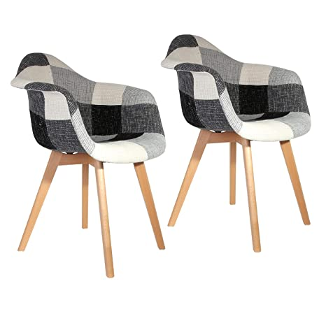 The Concept Factory silla escandinava Patchwork gris - Juego ...