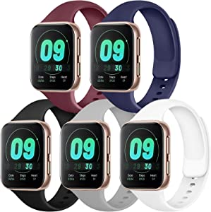 IEOVIEE [Pack 5] Compatible for Apple Watch Bands 38mm 42mm women men, Soft Silicone Strap Compatible with iWatch bands Series 6 5 4 3 2 1 & SE (Black/Gray/Navy Blue/Wine Red/White, 42mm/44mm-S/M)