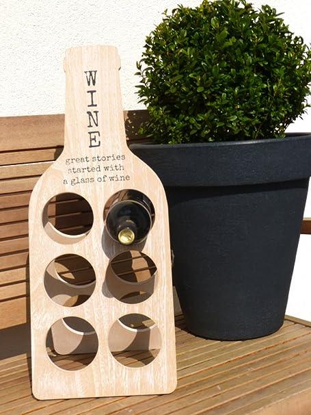Stylish Wooden Wine Rack In Landhaus Style Foldable 6 Bottles