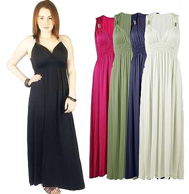 c5337c6c27 ONE LOOK CLOTHING Sexy Sleeveless Long Greek Jersey Maxi Dress Spring Coil  Black Navy Grey 8-14 (Purple)  Amazon.co.uk  Clothing