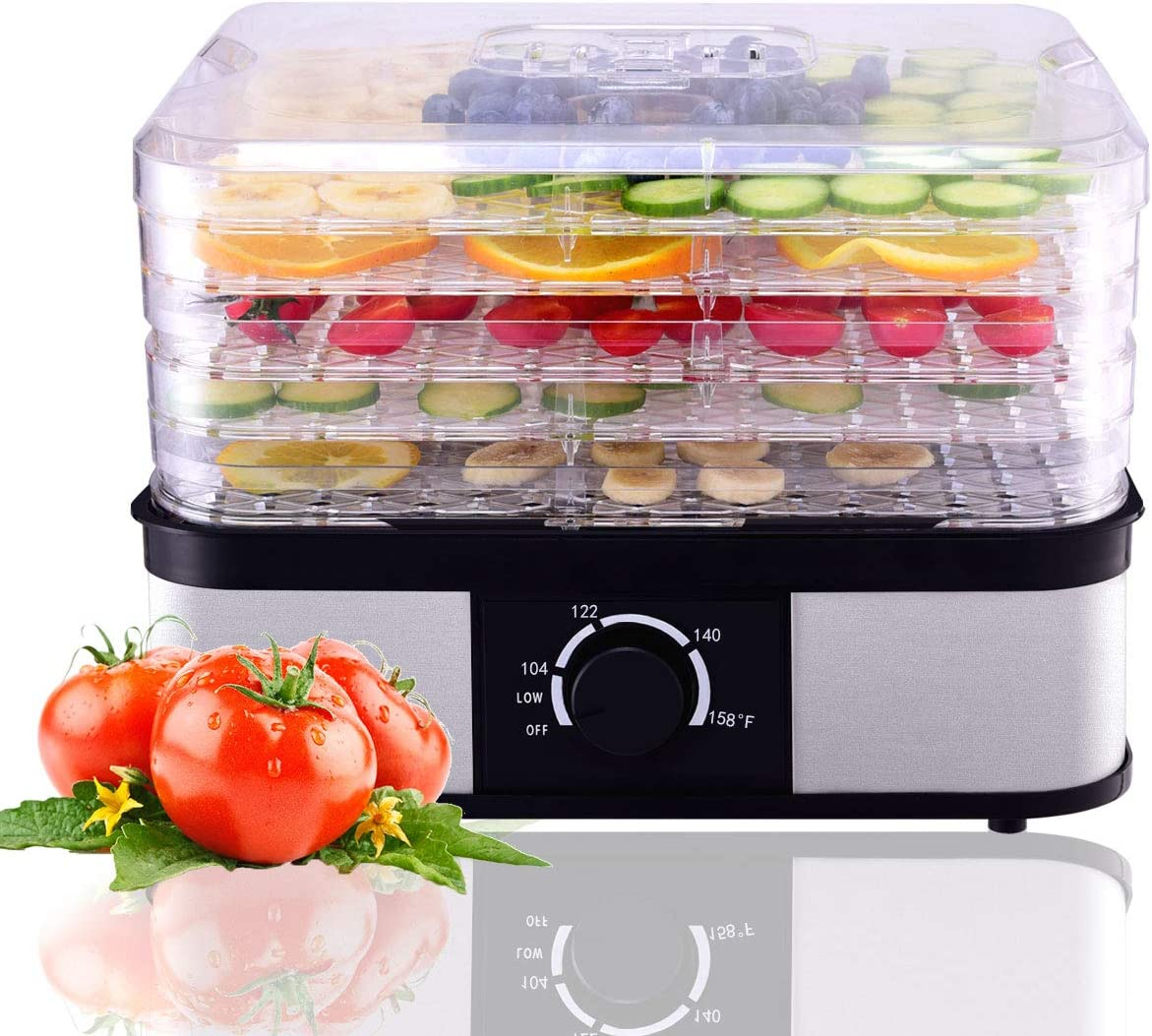 HAPPYGRILL Food Dehydrator, Best Electric 5-Tier Home Food Meat Beef Jerky Fruit Vegetable Dehydrator Dryer Preserver, Professional 360 Degree Hot Air Circulation System, Easy to Clean