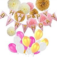 Pomisty Décorations Anniversaire, Anniversaire bannière Décoration Fête 40 Pcs en 1 * Banderole en Triangle Happy Birthday+ 9 Pom Poms + 30 Ballons pour Filles, garçons et Adultes (Rosa)