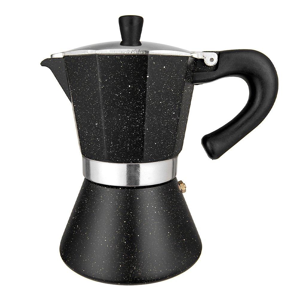 TOPHOMER Stovetop Espresso Maker, 6 Cups Italian Espresso, Moka Pot Coffee Maker for Gas or Electric Stove Top, Black