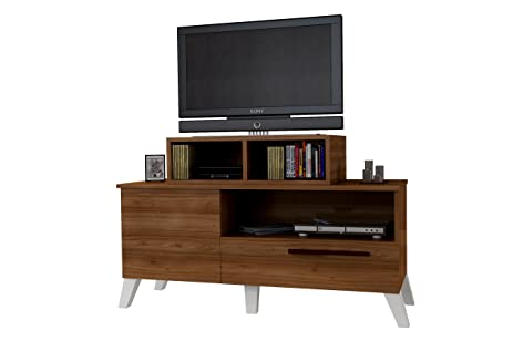 amazon com wood tv stand by clskn white walnut table for flat rh amazon com flat screen tv shelving units flat screen tv tables