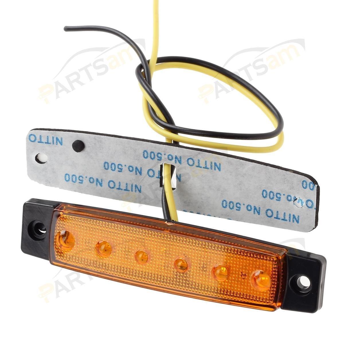 Rear side marker light Marker light amber White YUK 10 pcs 3.8 6 LED Side Led Marker Trailer marker lights for trucks Truck cab marker lights RV marker light