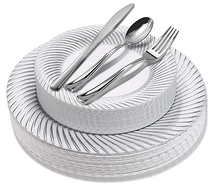 125 Piece Elegant Disposable Plates with Silver Plastic Cutlery - 25 Dinner Plates, 25 Dessert Plates, 25 Silver Forks, 25 Silver Spoons, 25 Silver Knives (Silver Swirl)