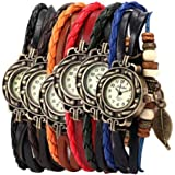 Yunan Pack of 6 Women's Watches Vintage Wrap Around Bead Leaf Bracelet Quartz Wholesale Set
