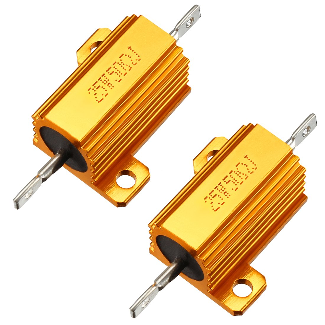 uxcell 25W 100 Ohm 5/% Aluminum Housing Resistor Screw Tap Chassis Mounted Aluminum Case Wirewound Resistor Load Resistors Gold Tone 2 pcs