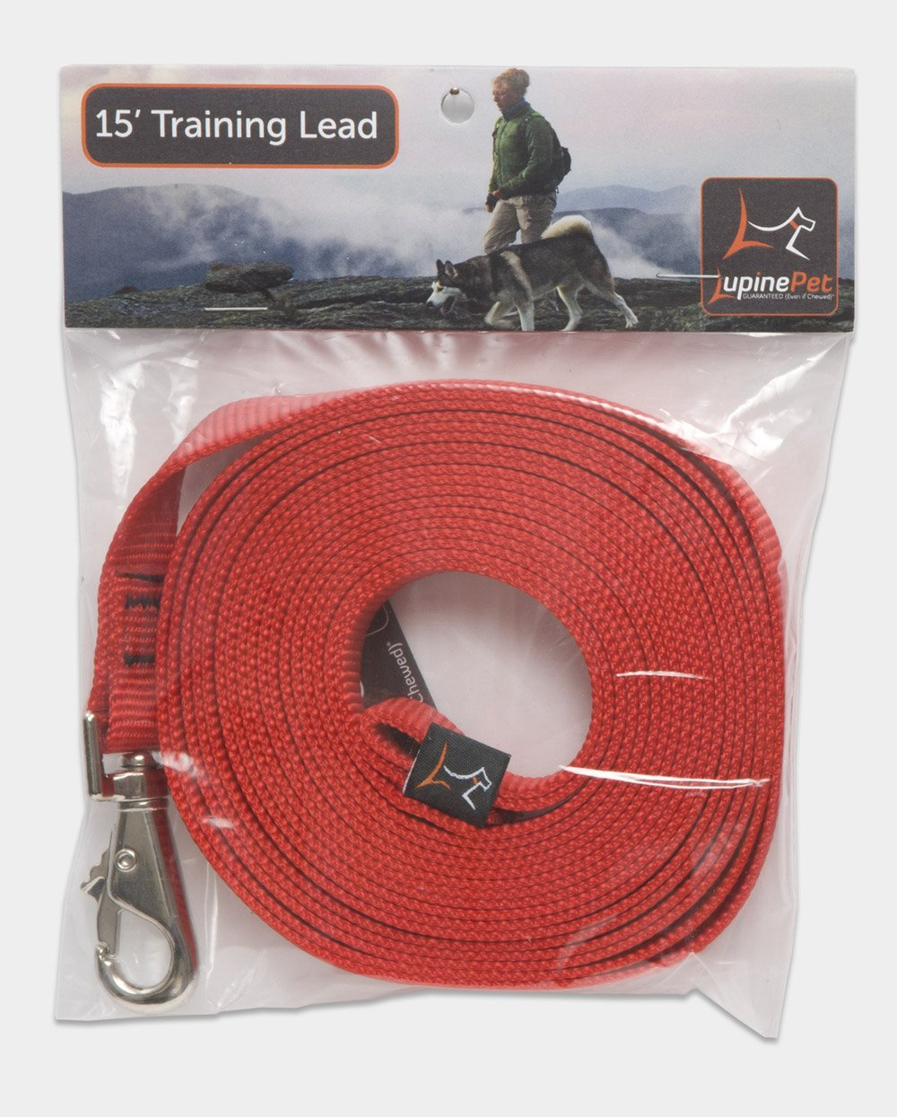 LupinePet Basics 3/4'' Red 15-foot Extra-Long Training Lead/Leash for Medium and Larger Dogs by LupinePet