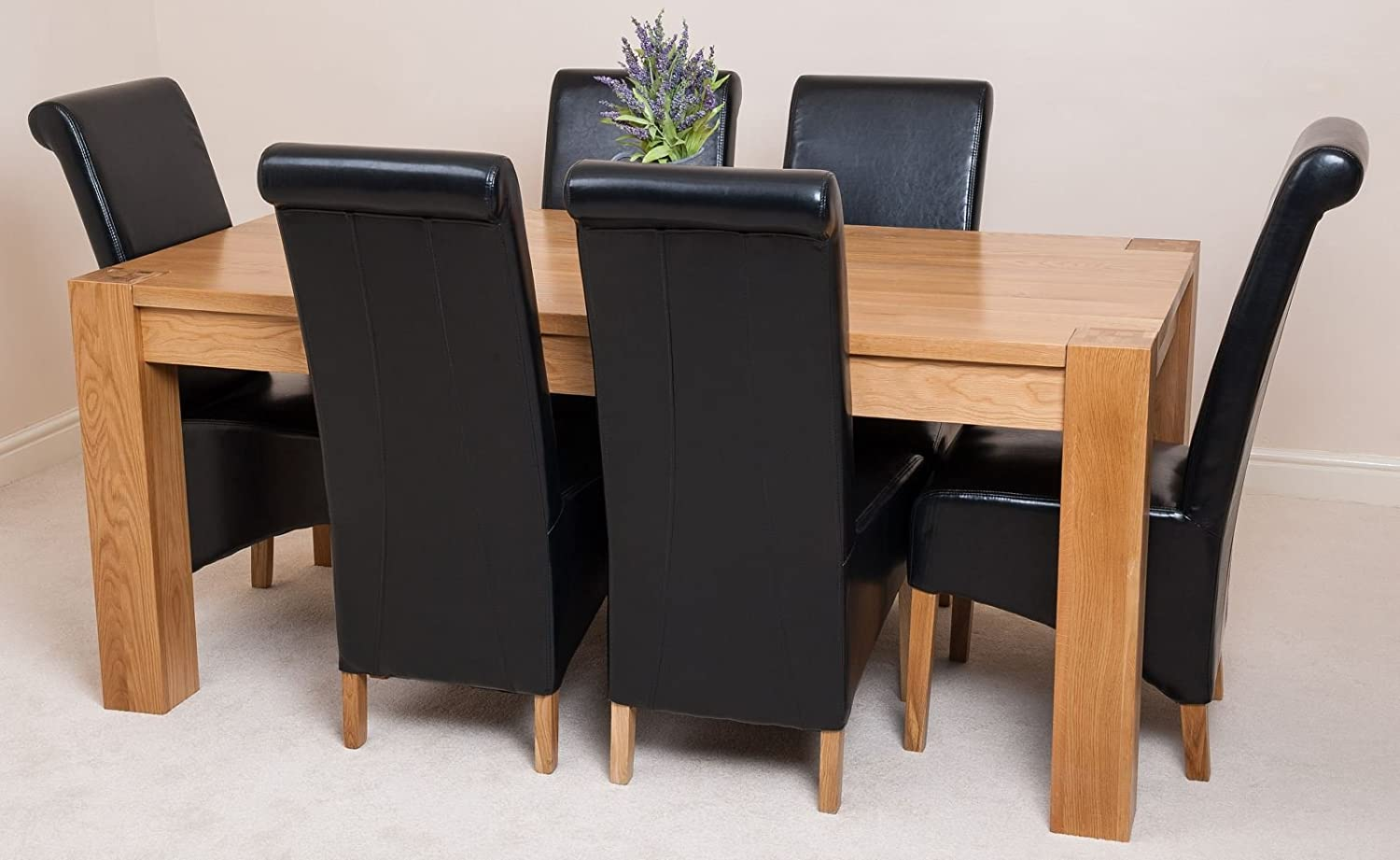 KUBA SOLID OAK DINING TABLE WITH 6 OR 8 MONTANA CHAIRS *Available In 4  Colours* (Black, 6): Amazon.co.uk: Kitchen U0026 Home