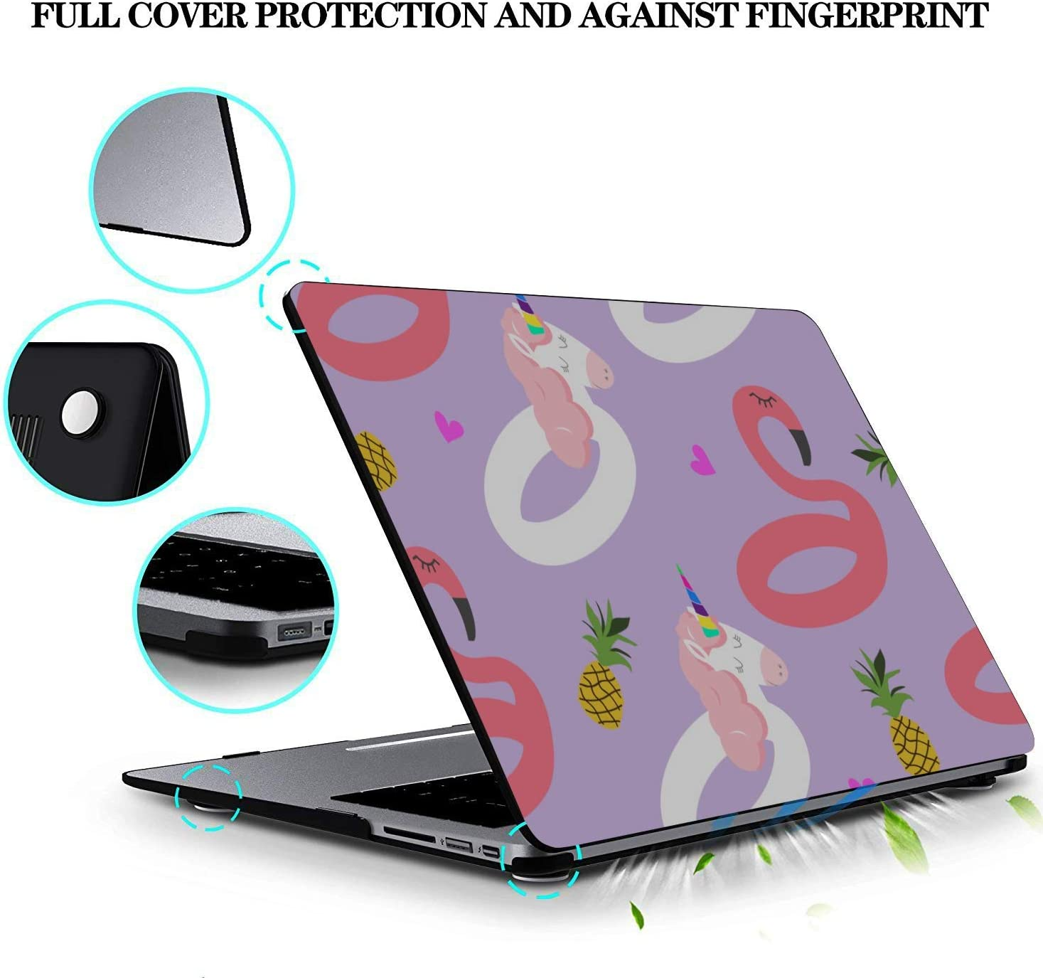 Case for MacBook Summer Romantic Fruit Cute Pineapple Plastic Hard Shell Compatible Mac Air 11 Pro 13 15 MacBook Accessories 13 Inch Protection for MacBook 2016-2019 Version