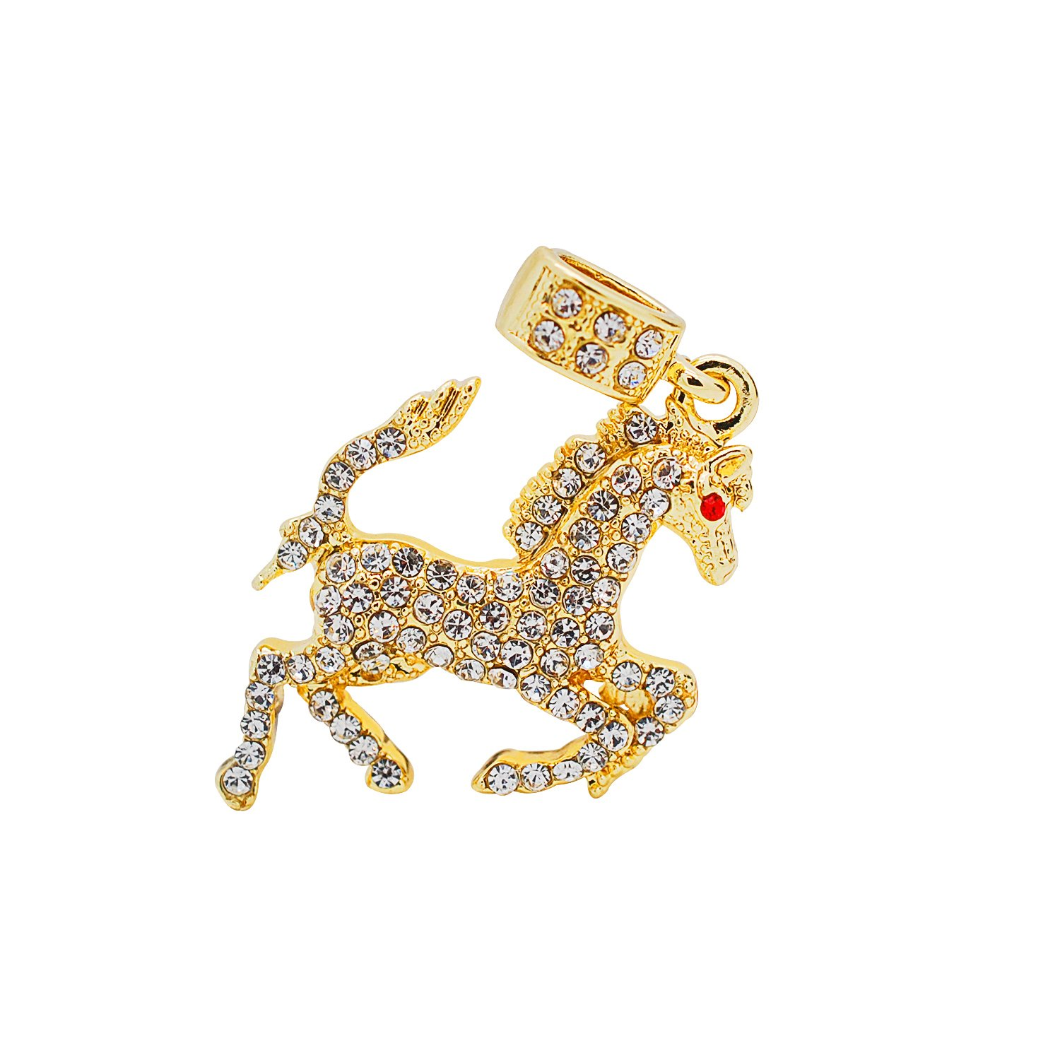 Yellow Gold-Tone Hip Hop Bling Simulated Crystal Rearing Bronco Horse Pendant with 18 Tennis Chain and 24 Rope Chain