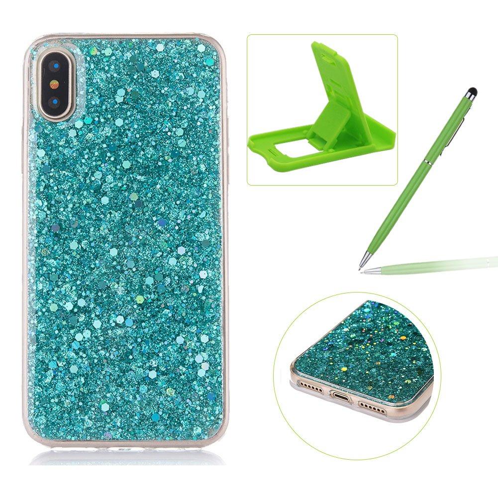 ゴムTpuケースiPhone X、herzzerスリム軽量カラーChangingキラキラとラグジュアリーユニーク[赤スパンコール] Bling Shiny SparkleソフトジェルクリアバンパーフレームカバーIphone X B075Q5G8XL Sequins,Green Sequins,Green