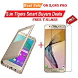 Sun Tigers Flip Combo of Flip Cover and Tempered Glass for Samsung On5 Pro (Gold)