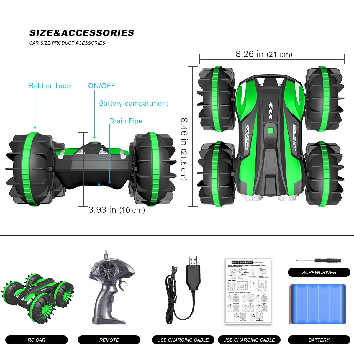 Remote Control Car Boat Truck 4WD 6CH 2.4Ghz Land Water 2 in 1 RC Toy Car Multifunction Waterproof Stunt 1:16 Remote Vehicle with Rotate 360 Electric Car Toy by FREE TO FLY by FREE TO FLY (Image #3)