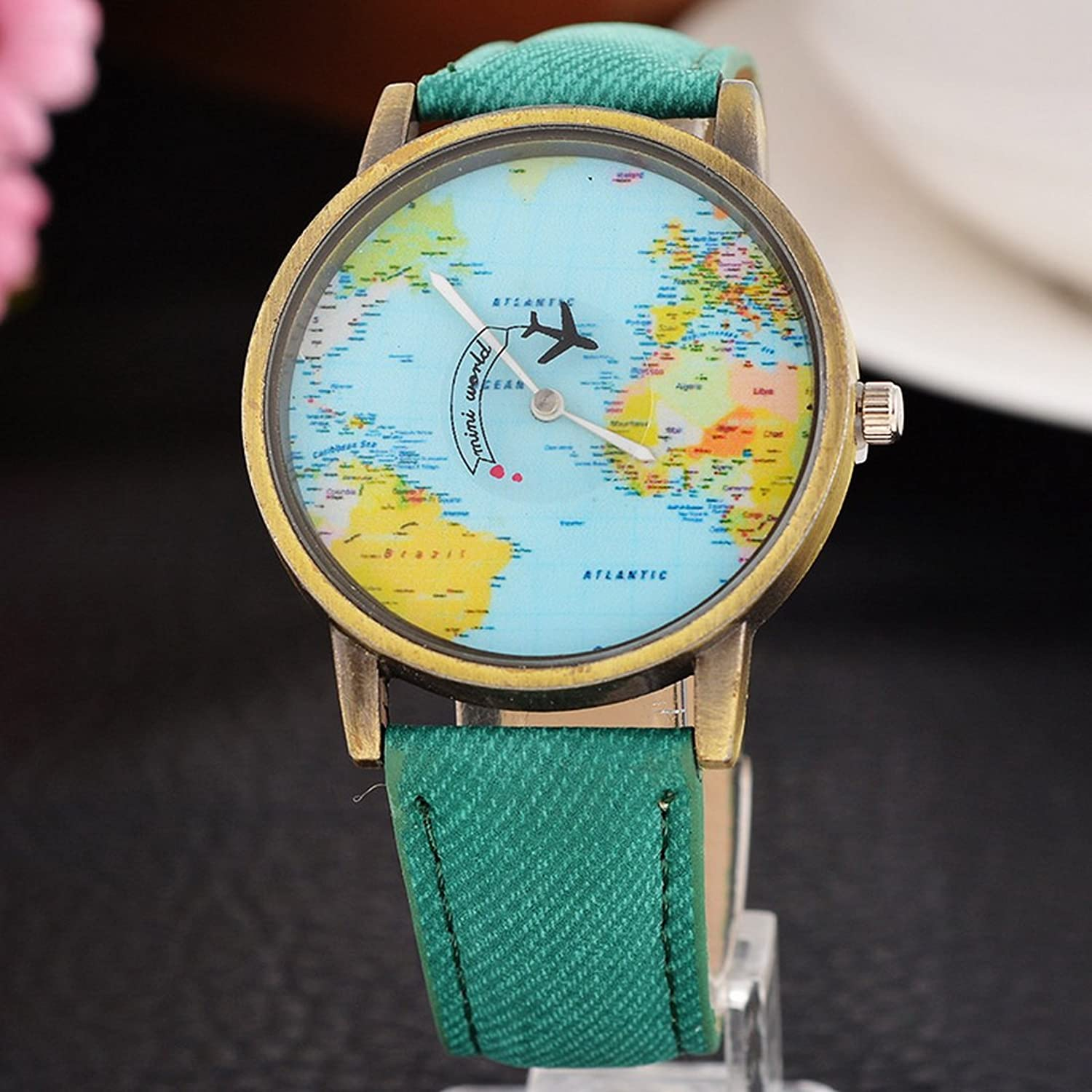 Amazon.com: Souarts Womens Mint Green Cowboy Band World Map Plane Pattern Dial Quartz Analog Wrist Watch 24cm: Watches