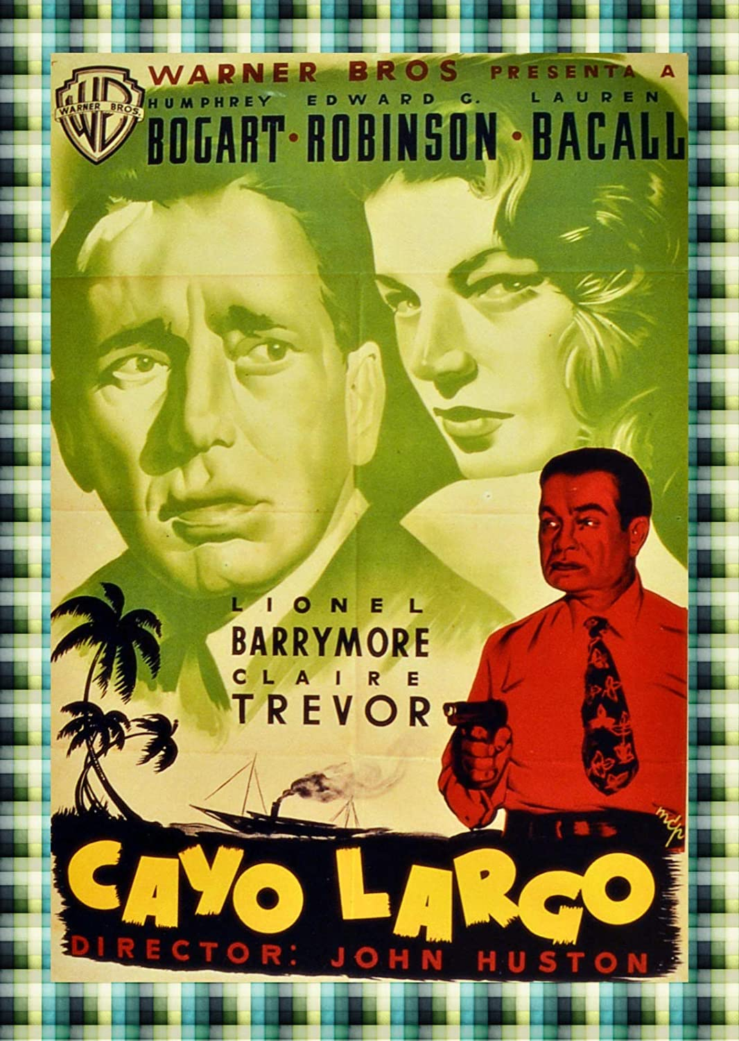 "11""x14""Decorative Movie Poster Reproduction.Key Largo.Bogart Bacall.Spanish Film.9514"