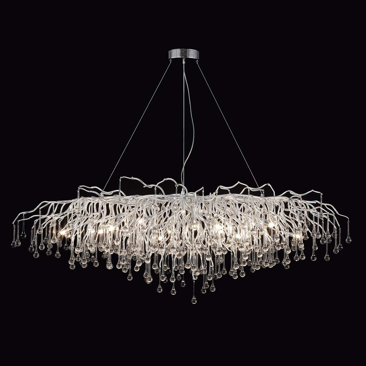 ANTILISHA Rectangle Chandelier for Dining Room Foyer Modern Crystal Chandeliers Lighting Large for High Ceilings Pendant Forest Rain Drops Linear Long Light Fixture Silver 57